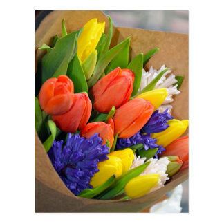 Colorful spring tulips bouquet postcard