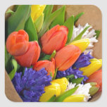 Colorful spring tulips bouquet square sticker