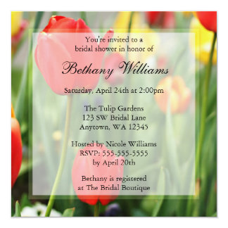 Colorful Spring Tulips Bridal Shower Card