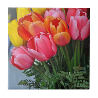 Colorful spring tulips ceramic tile