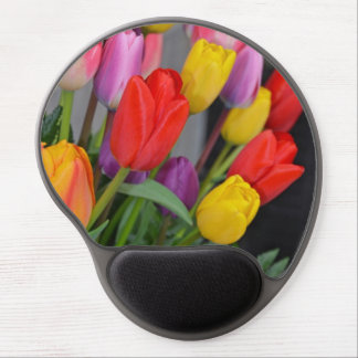 Colorful spring tulips gel mousepad