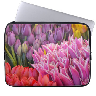 Colorful spring tulips laptop sleeve