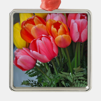Colorful spring tulips metal ornament