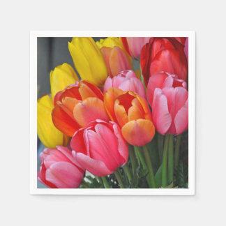 Colorful spring tulips napkin