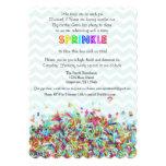 "Colorful Sprinkles and Chevron Baby Invite 5"" X 7"" Invitation Card"