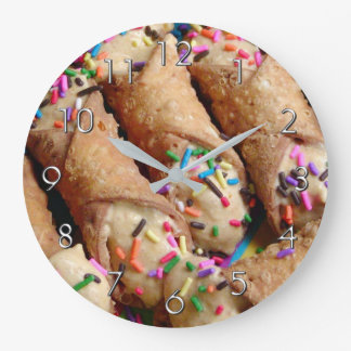 Colorful Sprinkles on Italian Cannoli Large Clock