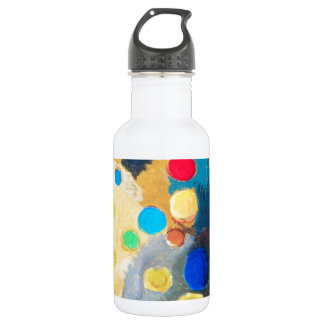 >Colorful Sprites (abstract naive painting) Stainless Steel Water Bottle