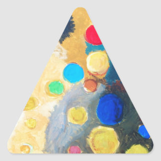 >Colorful Sprites (abstract naive painting) Triangle Sticker