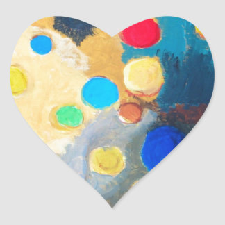 >Colorful Sprites (abstract naive painting) Heart Sticker