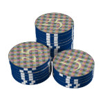 Colorful square and triangle pattern poker chip set
