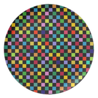 colorful square pattern melamine plate