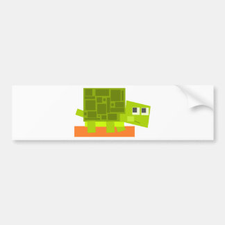 Colorful Square Shaped Green Cartoon Turtle Bumper Sticker