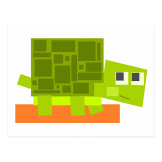 Colorful Square Shaped Green Cartoon Turtle Postcard