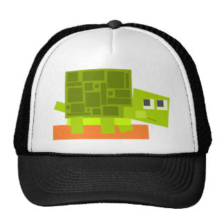 Colorful Square Shaped Green Cartoon Turtle Trucker Hat