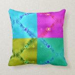 colorful squares aqua yellow green pink throw pillows