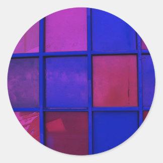 colorful squares classic round sticker