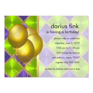 Colorful Squares Gold Balloons Party Invitation