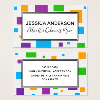 Colorful Squares Mommy Playdate Calling Card
