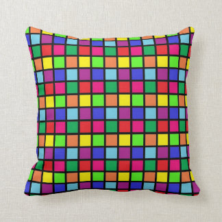 Colorful Squares on Black Throw Pillows