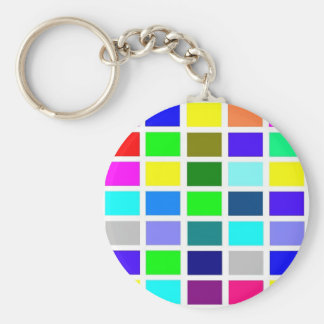 Colorful Squares on White Keychain