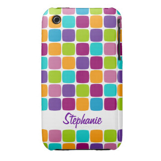 Colorful Squares Pattern Name iPhone 3G 3GS Case iPhone 3 Cases