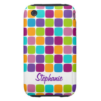Colorful Squares Pattern Name iPhone 3G 3GS Case Tough iPhone 3 Covers
