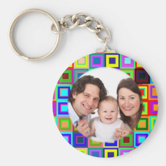 Colorful Squares/Photo Basic Round Button Keychain
