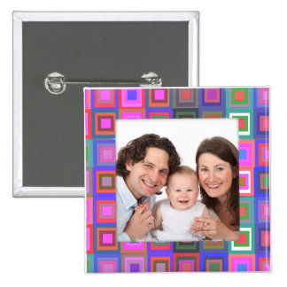Colorful Squares/Photo 2 Inch Square Button
