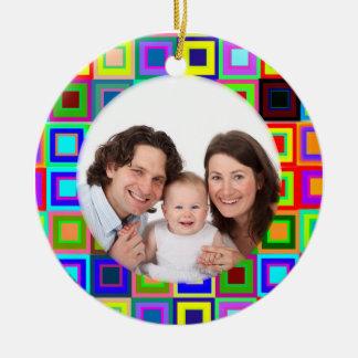 Colorful Squares/Photo Ceramic Ornament