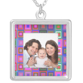 Colorful Squares/Photo Silver Plated Necklace