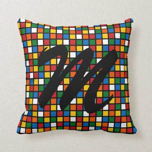 Colorful Squares Pillow w/Initial - Primary Colors Zazzle