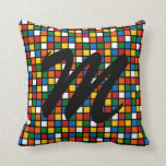 Colorful Squares Pillow w/Initial - Primary Colors Pillows