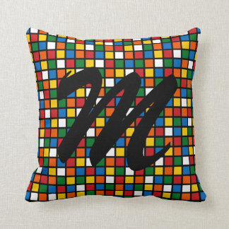 Colorful Squares Pillow w/Initial - Primary Colors
