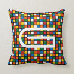 Colorful Squares Pillow w/ Initial -Primary Colors Pillow