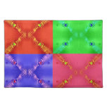 colorful squares red green blue pink place mats