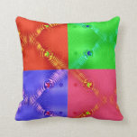 colorful squares red green blue pink throw pillow