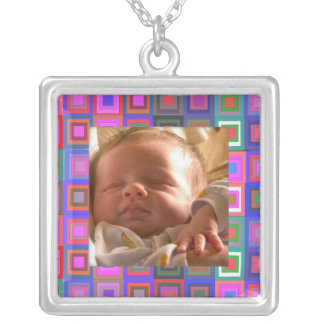 Colorful Squares Silver Plated Necklace
