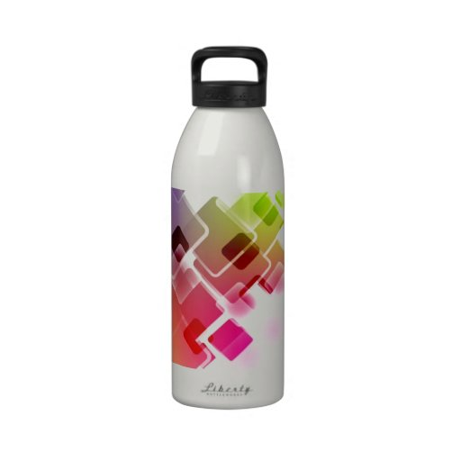 colorful squares reusable water bottle