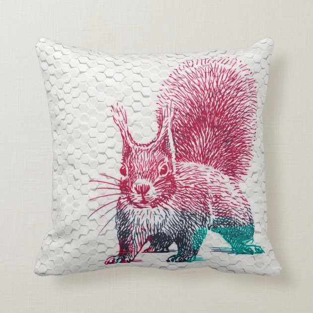 Colorful Squirrel Drawing 3d Dots Texture Throw Pillow Zazzle Com