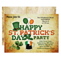 Colorful St Patrick's Day Party Vintage Parchment Invitation
