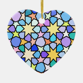 Colorful Stain glass effect Stars Pattern Ceramic Ornament