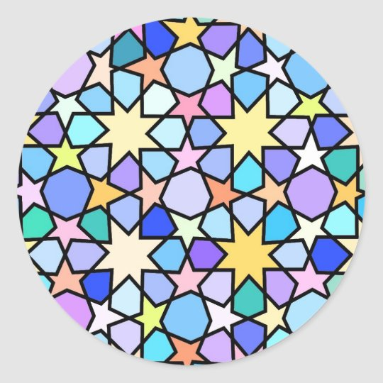 Colorful Stain glass effect Stars Pattern Classic Round Sticker