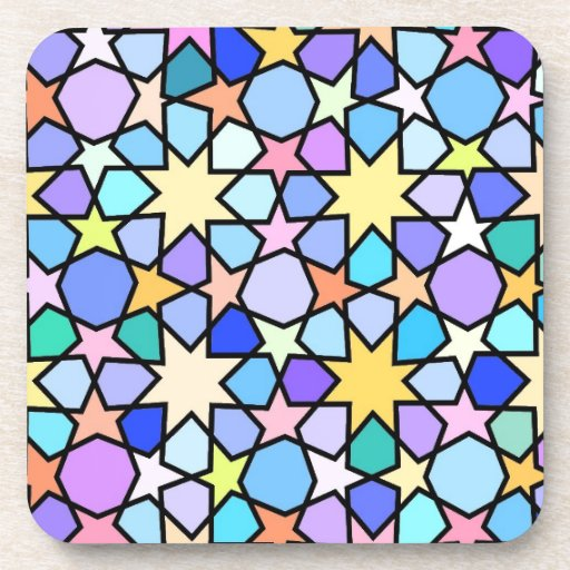 Colorful Stain glass effect Stars Pattern Coasters