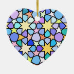 Colorful Stain glass effect Stars Pattern Double-Sided Heart Ceramic Christmas Ornament