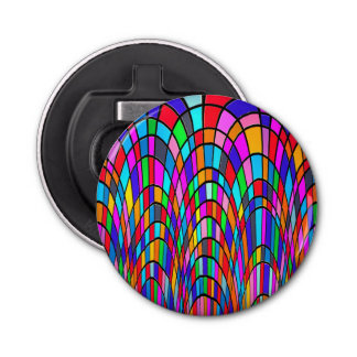 Colorful Stained Glass Art Button Bottle Opener