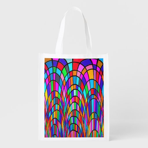 Colorful Stained Glass Art Market Totes