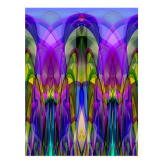 Colorful Stained Glass-like Abstract Design Postcard