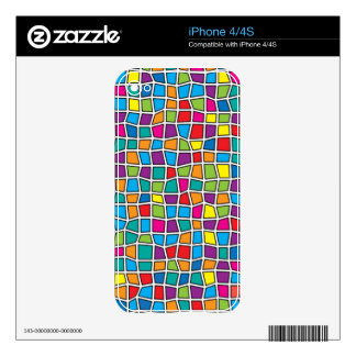 Colorful Stained Glass Look 2 Geometric Pattern iPhone 4 Decals