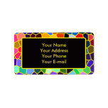 Colorful Stained Glass Rainbow Abstract Mosaic Label