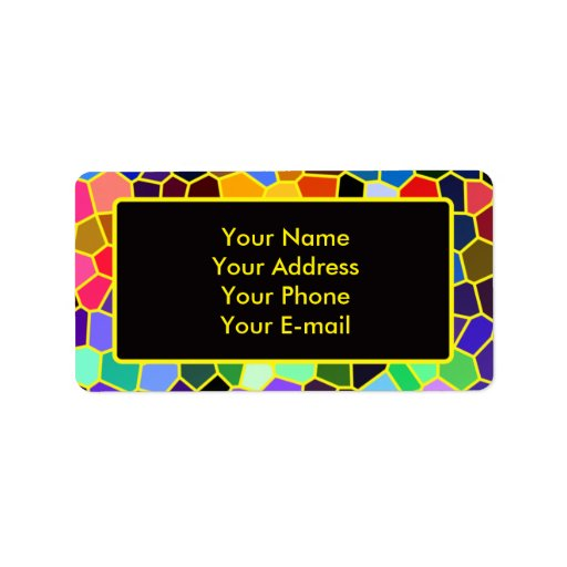 Colorful Stained Glass Rainbow Abstract Mosaic Custom Address Labels